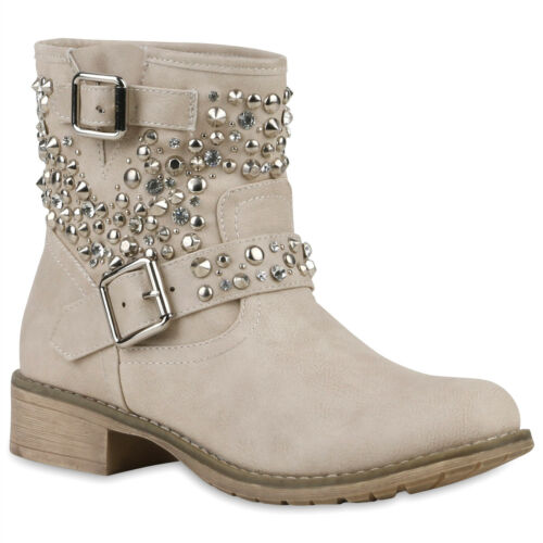 Damen Biker Boots Nieten Stiefeletten Strass Kunstleder 811621 Schuhe