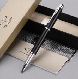 Luxurious-Metal-Parker-IM-Matte-Black-Silver-Clip-0-5mm-Fine-Nib-Rollerball-Pen
