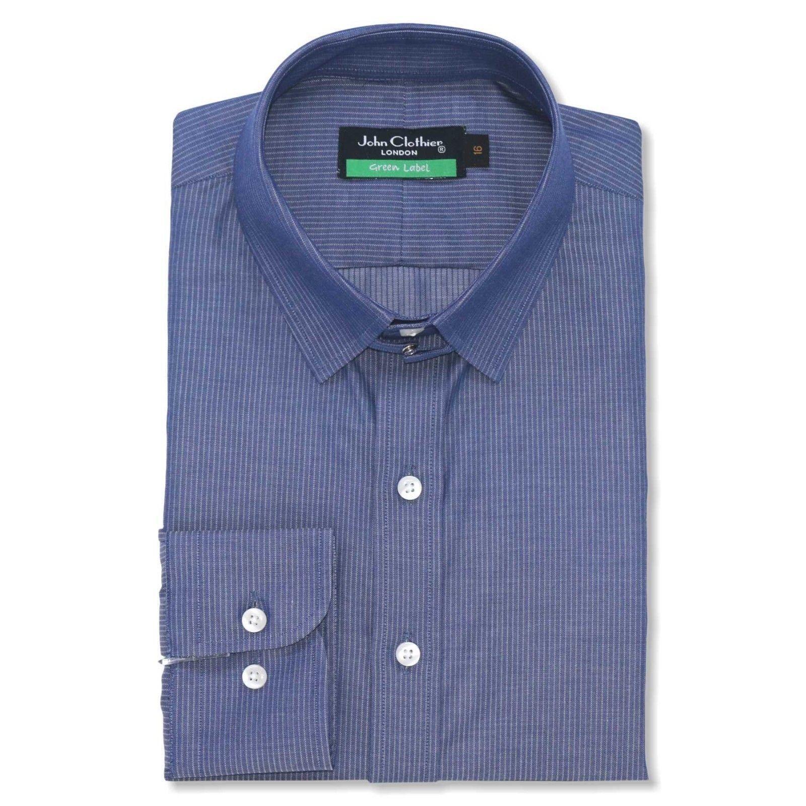 James Bond  Herren Tab collar shirt Blau Indigo pin stripes 100% cotton Loop collar