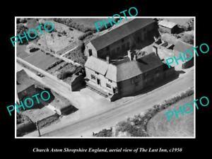 OLD-LARGE-HISTORIC-PHOTO-CHURCH-ASTON-SHROPSHIRE-ENGLAND-THE-LAST-INN-c1950