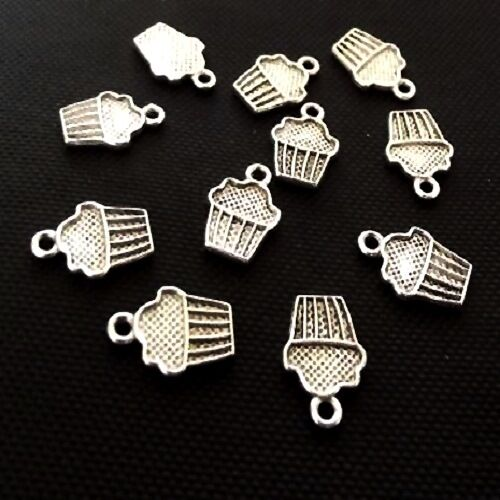 20 Tibetan Silver Cup Cake Pendant Charms Muffin 16mm