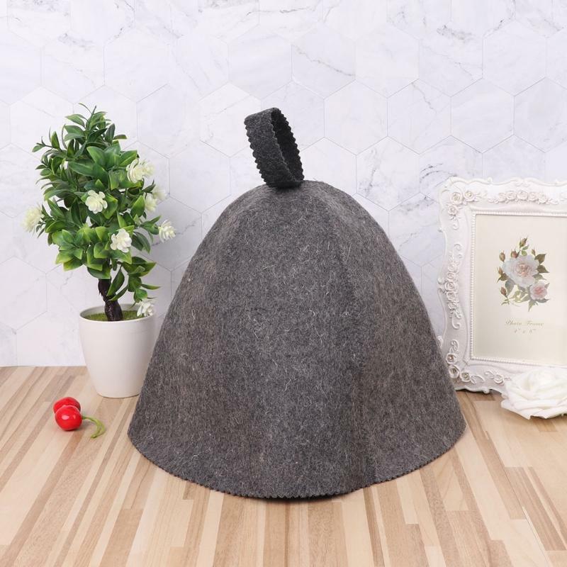 Gray Wool Felt Sauna Hat Cap Unisex for Russian Sauna Hut With Hang Loop