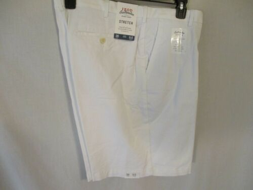 Izod Saltwater Cotton Blnd White Flat Front Casual Shorts w//Stretch SR$55-60 NEW