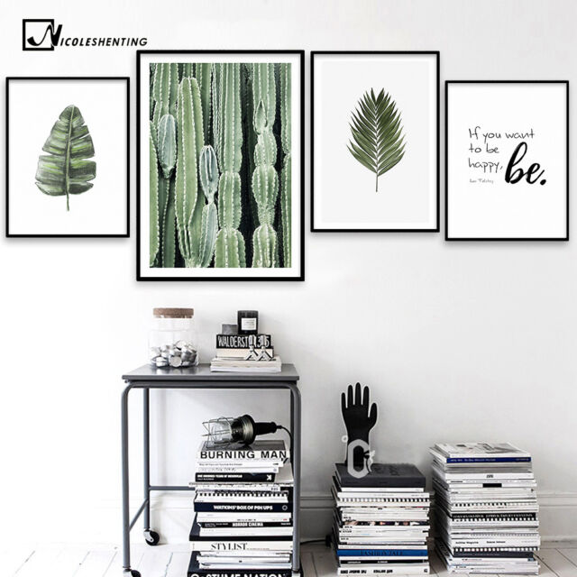 Nordic Style Leaves Cactus Motivational Vintage Poster Wall Art Canvas Print