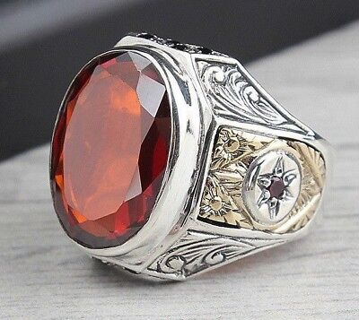 turkish jewelry 925 Sterling Silver Red Ruby Stone Mens Mans ring us ALL SİZE 43