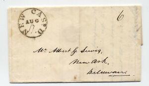 1830 New Castle DE black CDS stampless folded letter to Newark DE [5246.274]