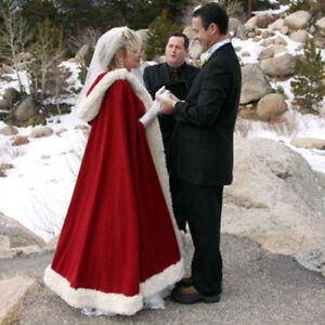 Long Bridal Winter Wedding Dress Hooded Cloak Cape Faux Fur Bridal ...