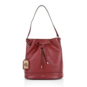 239c94ef246 Image is loading Lauren-Ralph-LaurenCrawley-Drawstring-Bucket-Bag-Red- leather-