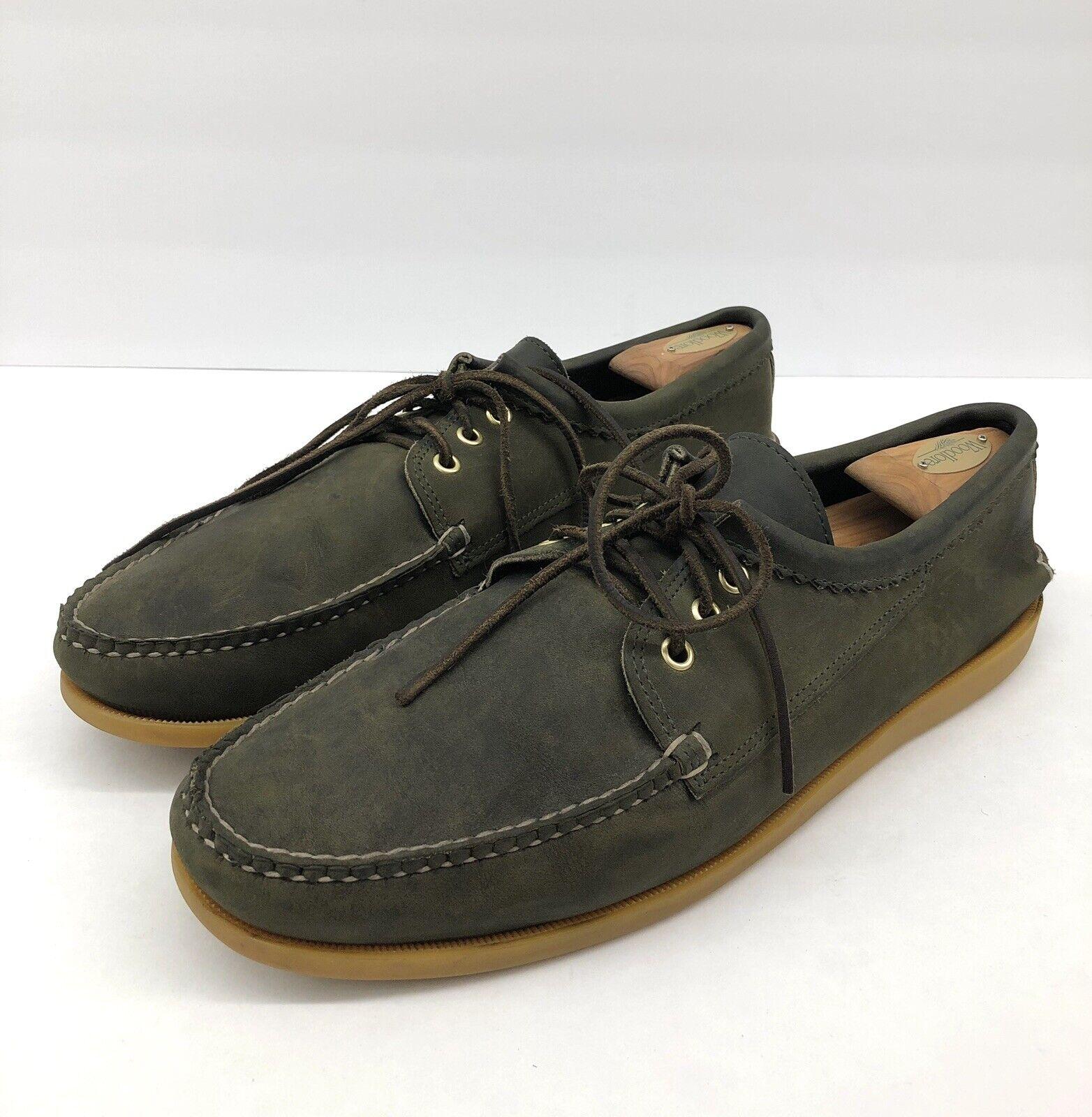 QUODDY Blücher HH en Daim Vert Camp Semelle Lacets Mocassin chaussures hommes 13.5 C