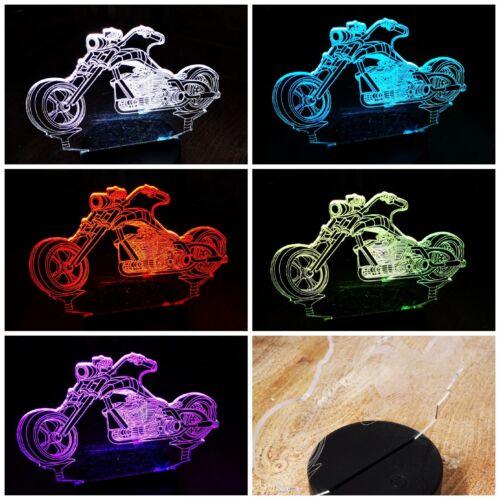 Nachtlicht 3D Effekt LED Licht Harley Nachttischlampe Deko