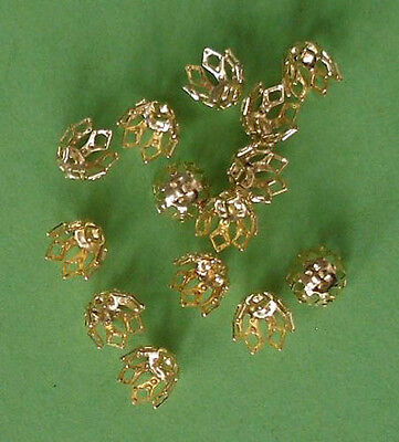 14mm silver plated 4-prong bell caps 20 large findings for jewellery making