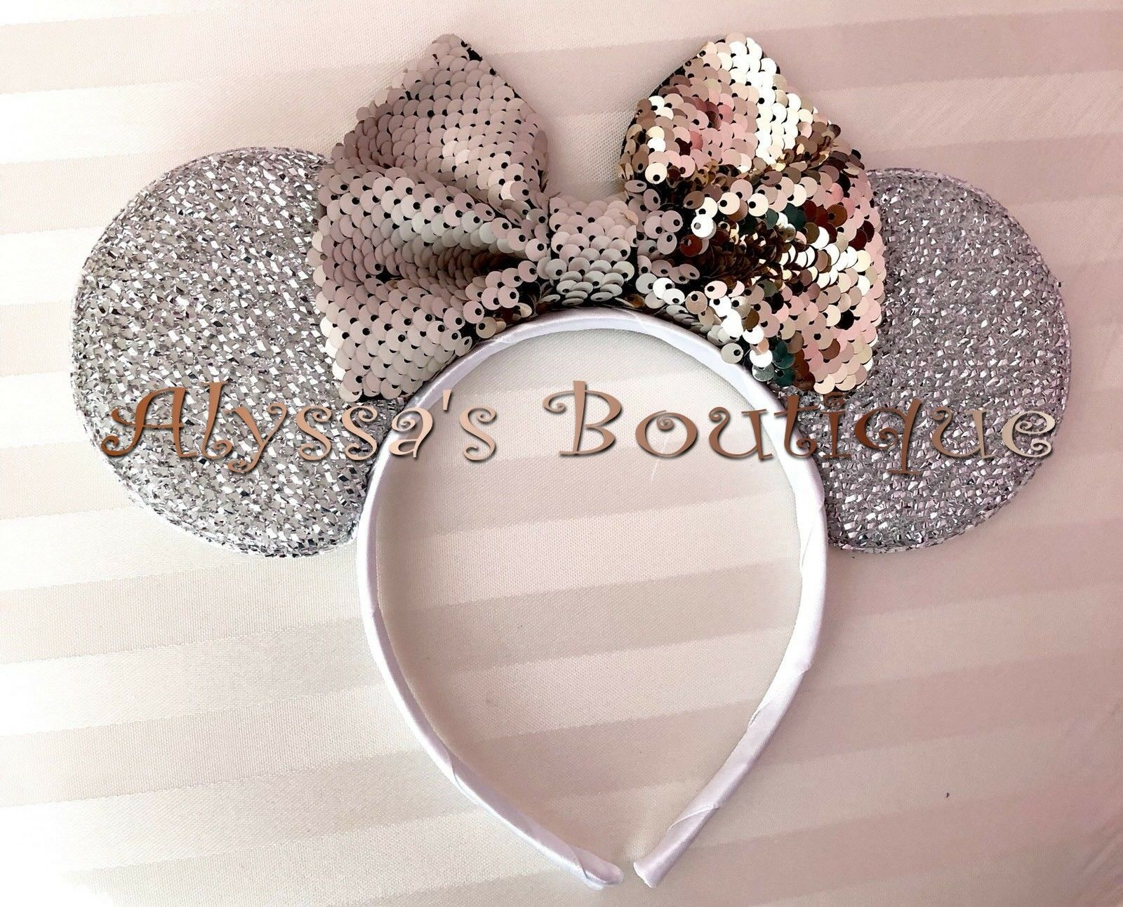 *NEW!* Minnie Mouse Ears Headband Black Flip Sequin Color Changing Bow Champagne