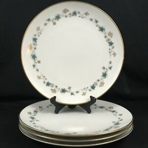Set-of-4-VTG-Dinner-Plates-10-1-2-034-Noritake-Elmdale-Blue-Gold-Leaves-6219-Japan