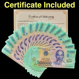 1 Million Vietnamese Dong -  500 000 Dong x2 - Lightly Circulated -COA AUTHENTIC