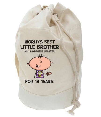 Worlds Best Little Brother 18th Birthday Present Duffle Bag Gifts For Him