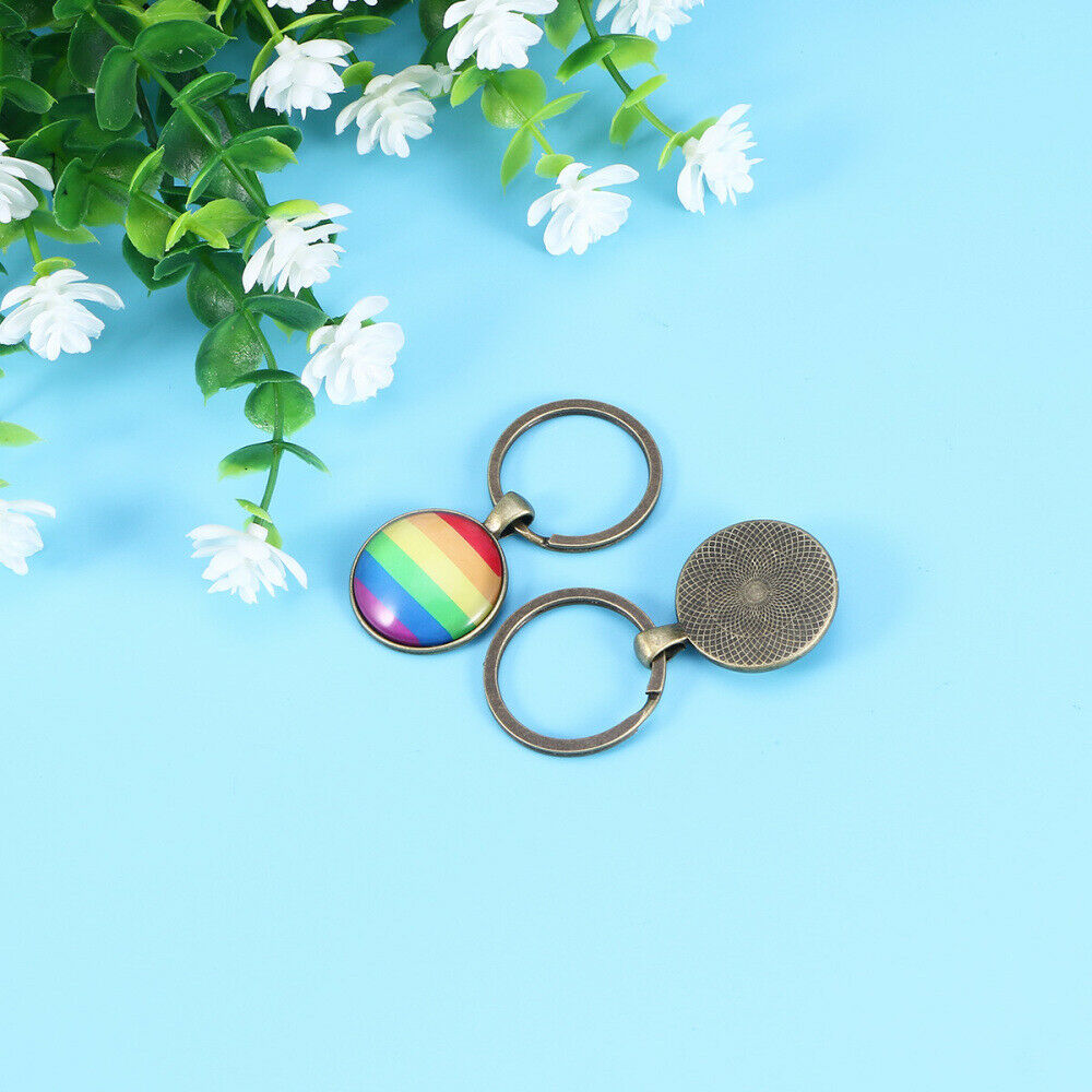 2 PCS Key Chain Alloy Rainbow Colorful Pendant for Holiday Gift