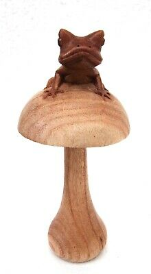 Unusual Hand Carved Wooden Frog on Toadstool Frog Carving 15cm Frog on Mushroom