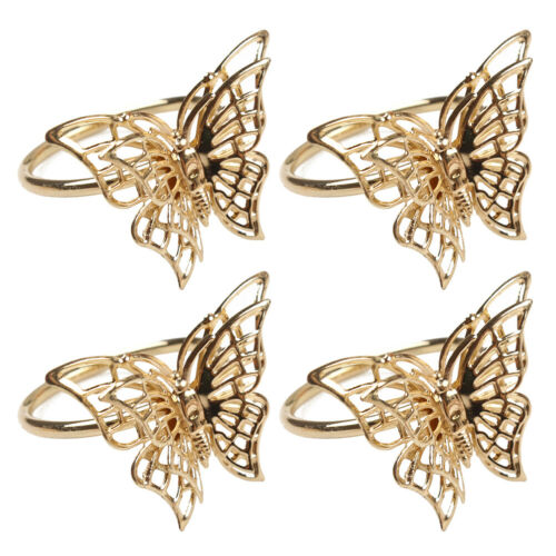 4pcs Golden Butterfly Napkin Rings Sparkling Metal Napkin Buckles Butterfly