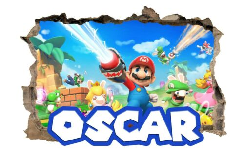 Personalised Any Name Super Mario Wall Decal 3D Art Sticker Vinyl Room Bedroom 1