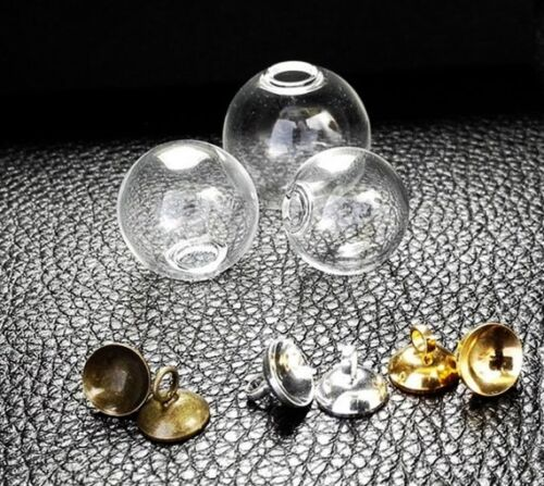 30sets 16mm Empty Glass globe Ball Charms pendants vials orbs Bottles with caps
