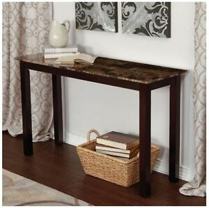 Wood console table faux marble top sofa hall entryway espresso image is loading wood console table faux marble top sofa hall watchthetrailerfo