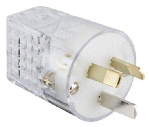 2x Clipsal REWIREABLE PLUGS 10A 230V 3-Pin Safety Suit 1.5mm HD Flex TRANSPARENT