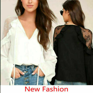 New-Women-Summer-Lace-Sexy-V-Neck-Long-Sleeve-Shirt-Blouse-Casual-Tops-T-Shirts
