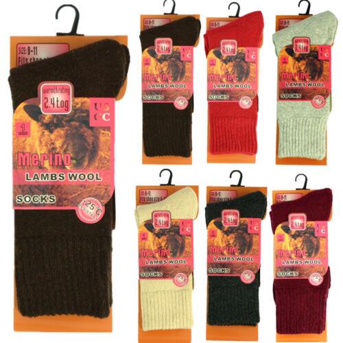 3 Pairs Womens Heavy Duty Winter Warm Merino Lambs Wool Thermal Socks 2.4 Tog