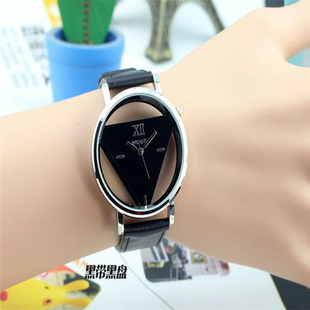 Fashion Stainless Steel Leather Band Women Mens Sport Analog Quartz Wrist Watch