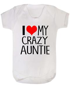 J/'aime ma folle tante bébé gilet Babygrow Body nouveau bébé cadeaux Baby Shower