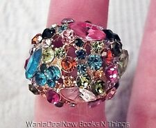 Multi-color Rhinestone Gold tone Dome Cocktail Ring, Size 8 + Free Gift Box