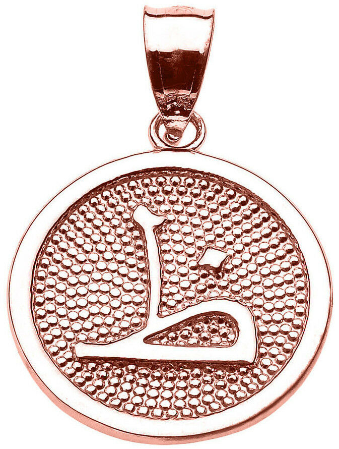 Pink gold Arabic Letter   thaa   Z Initial Charm Pendant