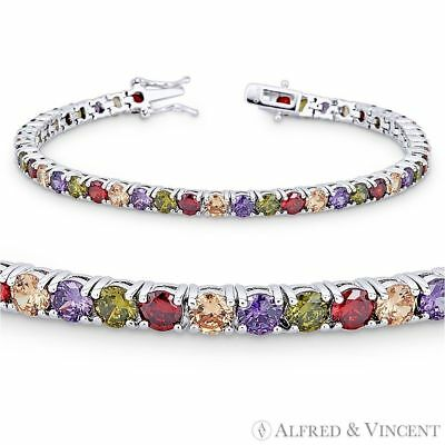 925 Sterling Silver Adjustable Rainbow Tennis Bracelet 4MM Round Cut Stones AAA Quality Center Stones Lead and Nickel Free Gift For Her