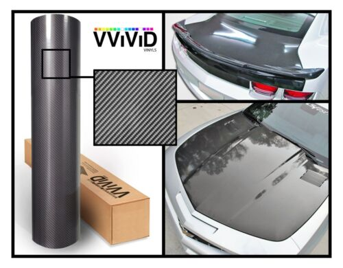 XPO Grey Carbon Gloss VViViD stretch bubble vinyl car wrap fiber sizes roll