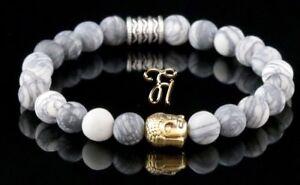 Jaspis-weiss-grau-matt-Armband-Bracelet-Perlenarmband-Buddhakopf-gold-8mm