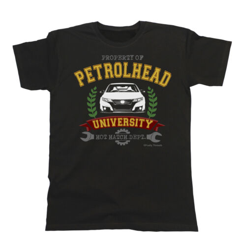 Mens Car T-Shirt Property of Petrolhead University HOT HATCH Dept Civic type r
