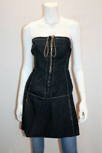 Sally-Smith-Brand-Blue-Denim-Lace-Up-Front-Straples-Dress-Size-10-LIKE-NEW-AN02