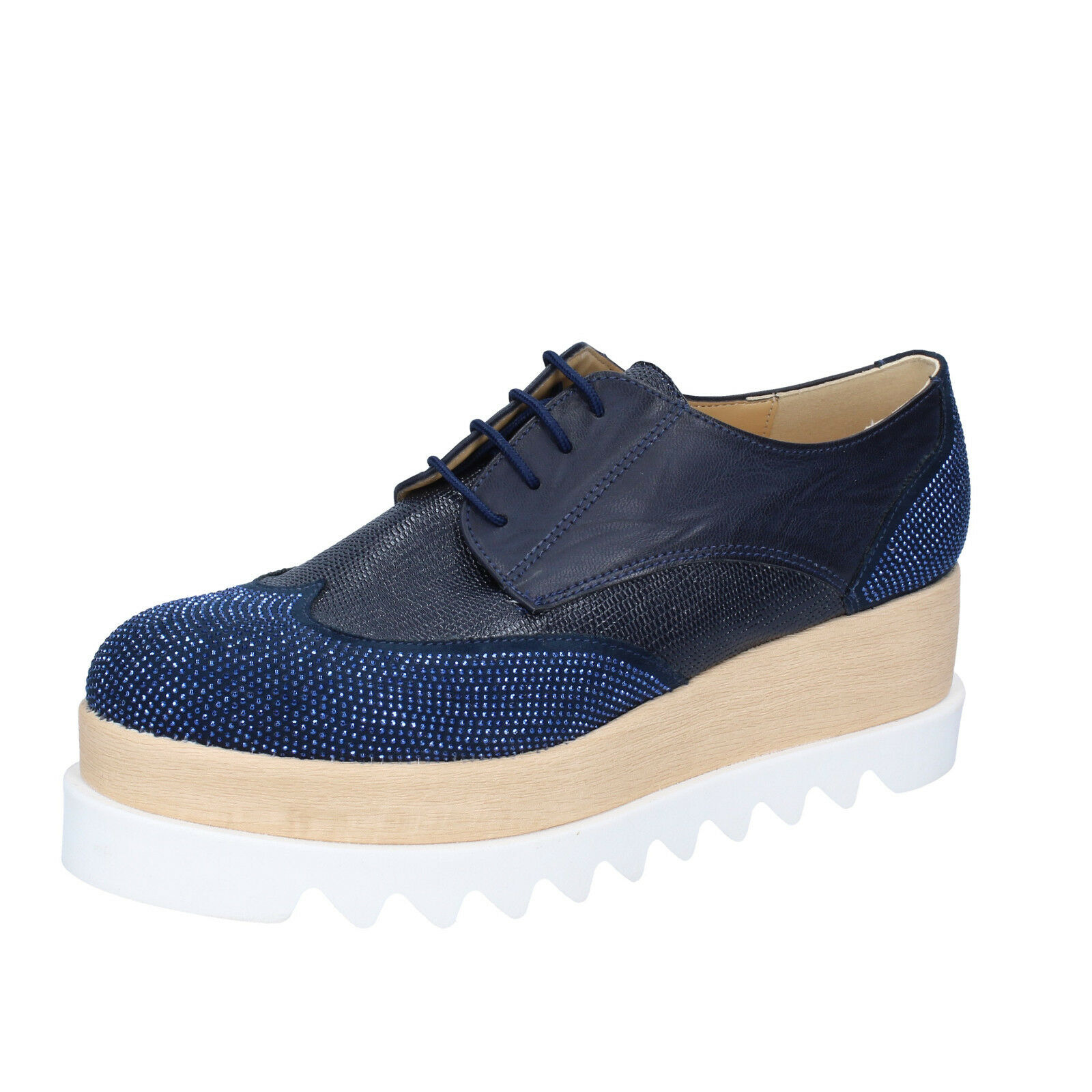 Para mujeres Zapatos Olga Rubini 5 (EU 38) 38) 38) Elegante Azul Cuero Gamuza Strass BS96-38  envío gratis