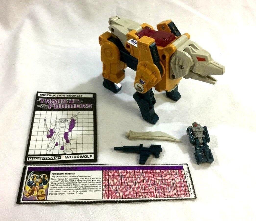 1987 G1 Transformers Headmasters WEIRDWOLF Figure complet livret armes