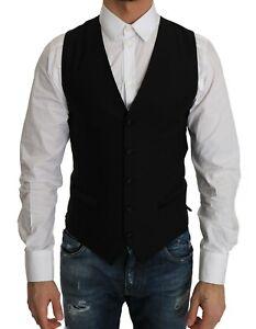 Travailleur New $500 Dolce & Gabbana Vest Black Wool Dress Waistcoat Gillet S. It52/us42/xl