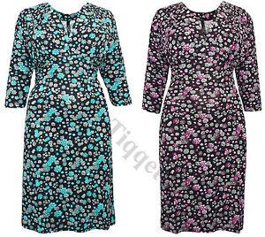 Captive-Curve-Floral-Pleat-Feature-V-Neck-Jersey-Dress-Sizes-14-32