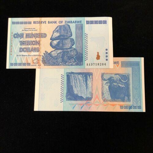 1 2008 ZIMBABWE 100 TRILLION DOLLAR NOTE AA GEM UNCIRCULATED AUTHENTIC