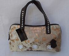 New Women's Ohh Ashley Genuine Hair Leather Dome Satchel with Crystals Bronze
