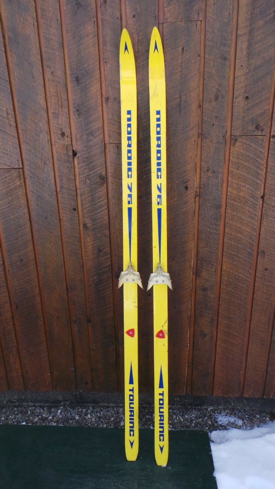 Vintage Wooden 70  Long Skis blueE and YELLOW Finish Signed NORDIC