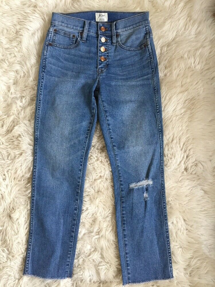 New Jcrew Petite vintage straight jean in reed wash with button fly H7737 24P
