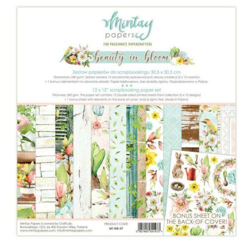 "Mintay Beauty in Bloom 12/"" x 12/"" Scrapbooking Paper Set,Spring Scrapbooking New!"