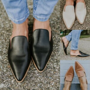 Women-Flat-Sandals-Leather-Soft-Pointed-Toe-Mule-Slippers-Flip-Casual-Shoes-US
