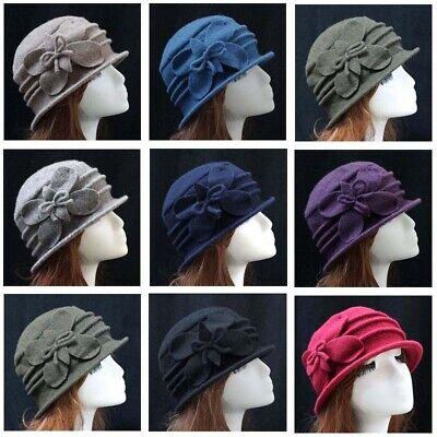 Women Vintage Elegant Wool Felt Cloche Bucket Hat Floral Winter Warm Cap Z01