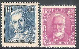 FRANCIA-1933-34-Victor-Hugo-BORDEAUX-1f-25c-Jacquard-Grigio-Blu-Menta-40c-SG518-520
