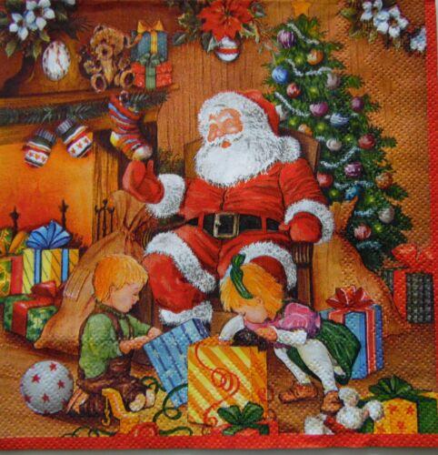 3 Servietten Weihnachtsmann Wichtel Katzen Vögel Kerzen Tannenbaum Schnee